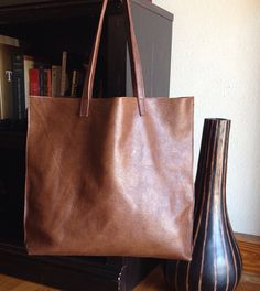 Milk Chocolate Leather Tote on Etsy, $75.00