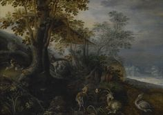 From Indianapolis Museum of Art, Roelandt Savery, Landscape with Animals (ca. 1610), Oil on wood, 9 5/8 × 13 3/16 in