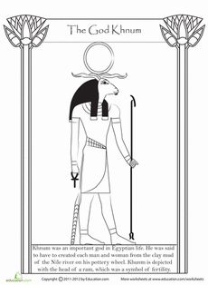 Did you know that the gods of ancient Egypt were worshiped over 3,000 years ago? Learn about Khnum, the god of creation, with a coloring page that includes a few fun facts about this ancient deity.