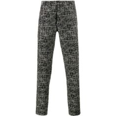 Dior Homme Dior Homme Scribble Print Trousers ($608) ❤ liked on Polyvore featuring men's fashion, men's clothing, men's pants, men's casual pants, black, mens patterned pants, mens cotton pants and mens floral print pants