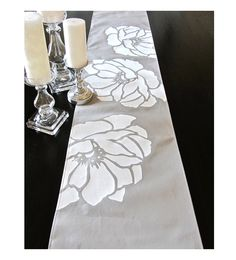 Floating Peony Table Runner Lt Grey by celineandkate on Etsy Christmas Arts And Crafts, Diy Christmas Gifts, Fabric Paint Designs, Handbag Patterns, Diy Table, Fabric Painting, Table Runners, Peonies, Hand Painted