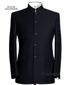 The slight colour contrast on the neck makes it work really nicely Nehru Jacket For Men, Nehru Jackets, African Wear Styles For Men, African Men Fashion, Formal Suits, Men Formal, Mens Fashion Suits, Mens Suits, Chinese Clothing For Men