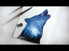 Watercolor Painting Wolf Double Exposure YouTube Galaxy painting Watercolor galaxy Wolf painting