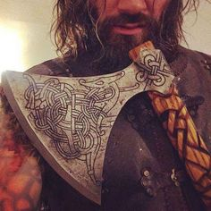 """We're extremely proud to have made an axe for none other than Clive Standen, who portrays Rollo in the TV-series Vikings. Viking Axe, Viking Culture, Vegvisir, Vikings Tv, Norse Mythology, Ragnar, Dark Ages, Symbolic Tattoos, Runes"