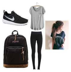 """""""Cute comfy school outfit"""" by maschumacher ❤ liked on Polyvore featuring NIKE, JanSport and LULUS"""
