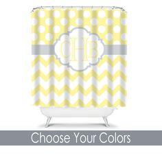 Custom IKAT Chevron Shower Curtain - 3 color combo - any color ...