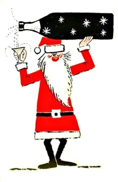 Vintage Christmas alcoholic Santa