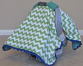 Riley Blake Chevron Green- Baby Boy Carseat Canopy- Carseat Cover- Carseat Tent