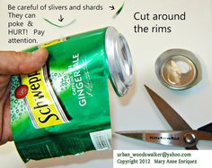 Jewelry and keychains made from recycled aluminum cans. How To Cut A Metal Can For Jewelry and Crafts Aluminum Can Crafts, Metal Crafts, Pop Can Crafts, Fun Crafts, Beer Can Art, Soda Can Flowers, Pop Can Art, Recycle Cans, Repurpose