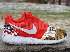the best attitude 6cd6a 15020 Nike Roshe Run Red Marble American Flag Thank You for by NYCustoms,  175.00  All Nike