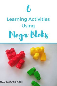 6 Learning Activities Using Mega Bloks. #toddler #preschooler #learning