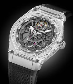 The new Girard Perregaux Laureato Absolute Light Sapphire Crystal watch, released in with photos and expert analysis. Girard Perregaux, Time And Tide, Limited Edition Watches, Glass Material, Mechanical Watch, Royal Oak, Cool Watches, Unique Watches, Watch Brands