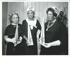 """This photograph depicts Mrs. Martin Lovell, Mrs. Andrew Means, and Mrs. Jesse Watts from Midtown Gary. They hold the American Cancer Society Sword of Hope. It is dated """"1965 Crusade 4-7-65"""" From my personal collection."""