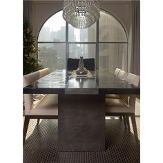 Bamboo & Steel Dining Table from Aguirre Design Inc - I like everything about this...