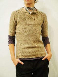 Humanoid - oatmeal short sleeve sweater, long sleeve v neck henley (worn underneath)