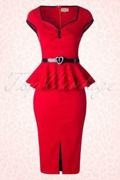 Lindy Bop Red Peplum Heart Belt Dress 100 20 17321 20151026 0004W