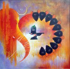 Buy Om And Panchikaran artwork number a famous painting by an Indian Artist Vijay Nyalpelly. Indian Art Ideas offer contemporary and modern art at reasonable price. Shiva Art, Ganesha Art, Hindu Art, Shiva Shakti, Shri Ganesh, Hanuman, Lord Ganesha Paintings, Lord Shiva Painting, Indian Art Paintings