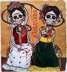 """""""Las Dos Heridas"""" #Kahlovera Art #Dia De Los Muertos #Day Of The Dead Art"""