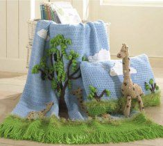 Go on safari with this absolutely adorable design. You and your little one can spend hours on the plains of Africa discovering giraffes among tall trees with a fun crochet afghan, pillow and toy. The pillow and afghan are covered in whimsical clouds, curlicue trees and magnificent giraffes to bring a smile to any child that comes in contact with them.
