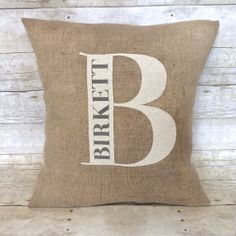 Monogramed Burlap Pillow Cover  Customized by BellaGreyVintage, $34.00