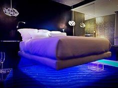 Amazing Beds : Seven Hotel in Paris, You can rest your head for the night in one of 28 so-called levitation rooms, where all the furniture - including the bed and the bathtub - appears to be hovering above the floor. In truth it's a clever optical illusion, but the bed's still bound to lift your spirits
