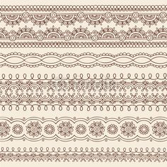 Vetor: Henna Mehndi Tattoo Paisley Vector Border Designs