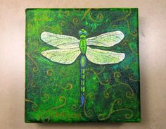 Dragonfly Painting on 5 x 5 Wrapped Canvas by ArtfullyNourished