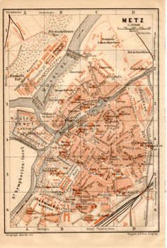 1914 Montauban France Antique Map Vintage Lithograph Tarnet