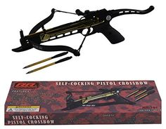 Rogue River Tactical Self Cocking Crossbow 80lb Draw Mini Pistol Cross Bow Best Quality 80 Pound Hunting w/ 39 Aluminum Target Arrows Archery Bow Bolts Plus Extra String