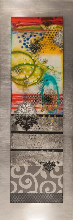 "O'Neal -""Heartmirror"" Mixed media with a matt resin glaze on wood"