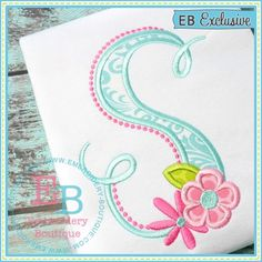 Bella Fleur Applique Alphabet Been waiting months for the release of this design! Sizes include 5x7, 6x10, 9x9, and 8x12. Get both letters and numbers for $8.00 on sale till Saturday 2-6-2016