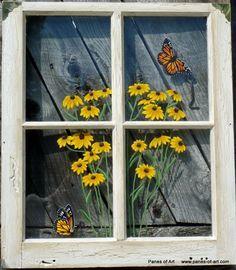 Decorative Old Window Panes | Painted Window Panes, Window Art, Window Pane Painting, Glass Art, Old ...