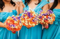 Fiery bouquets with starfish || Really Awesome Weddings » Club Balai Isabel, Batangas Lakeside Wedding / Mike and Mizielle