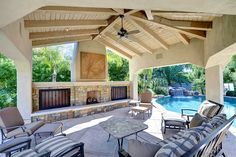 Mature landscape frames the outdoor paradise for total privacy. Pebble Sheen pool, built-in barbeque and entertainment Ramada with fireplace. #outdoor #ramada #sparklingpool #entertainment #fireplace #patio