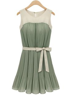 Green Sleeveless Self-tie Pleated Chiffon Dress