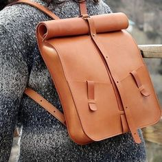 Bag computer. Leather backpack handmade.