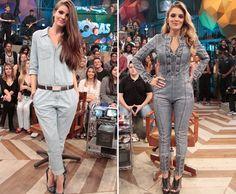 Rafa Brites e Camila Queiroz apostam no macacão jeans nas gravações do programa 'Altas Horas' ♥