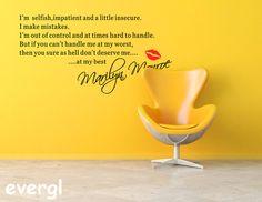 Sexy Lady Marilyn Monroe Quote Wall Sticker Art Decal Home Decor Vinyl Mural PhD | eBay