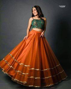 orange lehenga with crop top ~ orange lehenga . orange lehenga with crop top . Indian Gowns Dresses, Indian Fashion Dresses, Indian Designer Outfits, Bridal Dresses, Formal Dresses, Indian Bridesmaids, Bridesmaid Outfit, Indian Wedding Outfits, Indian Outfits