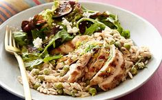 Creamy Lemon-Pepper Orzo with Chicken and Fig Salad - Recipe from Food Network Kitchens