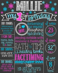 Snowflake First Birthday Chalkboard Poster // by PersonalizedChalk