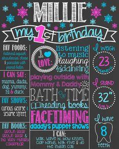 Snowflake First Birthday Chalkboard Poster // by PersonalizedChalk
