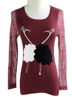 Funny Animals Printed Lace Sleeve O-Neck Plus Size Sweater Corset Tops on buytrends.com