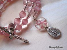 Pink Breast Cancer Awareness Ribbon Catholic Rosary Bracelet