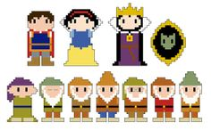 Snow White Pixel People Character PDF pattern by CheekySharkLabs
