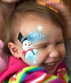 Cute Christmas Face Painting, Painting Snow, Painting For Kids, Body Painting, Face Painting Images, Face Painting Designs, Tinta Facial, Festival Paint, Pregnant Belly Painting