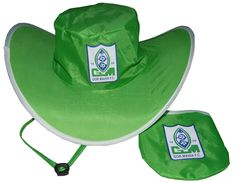 "Snap Cowboy Hats.The folding cowboy hat.  Logo printing for promotion is available. Can be folded into a pouch. Take it out of its pouch and ""POP"", it springs open into a sun hat!   Then, with a simple twist, it becomes a small disk that goes back into a matching pouch.     Low price, can print logo on it as gifts."