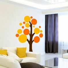 Colourful Circle Tree - Wall Decals Stickers. Paint a tree like this onto canvas and kids place handprints in the circles. Needs to be unisex colours.