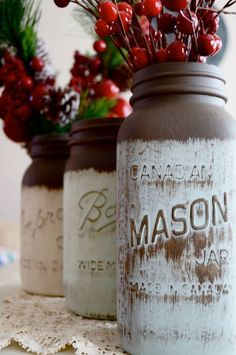 Give repurposed mason jars new life with a coat of chalk paint, a light sand, and a distressing finish. Can be used as a vase, tea light holder, or as the base for a homemade mason jar lamp :)