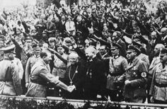 "Adolf Hitler greets Muller the ""Bishop of the Reich"" and Abbot Schachleitner."